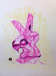 MürrischerHupenKanickel_Zeichnung-Pastellkreide-auf-Papier-42x58cm-©-Jürgen-Bley