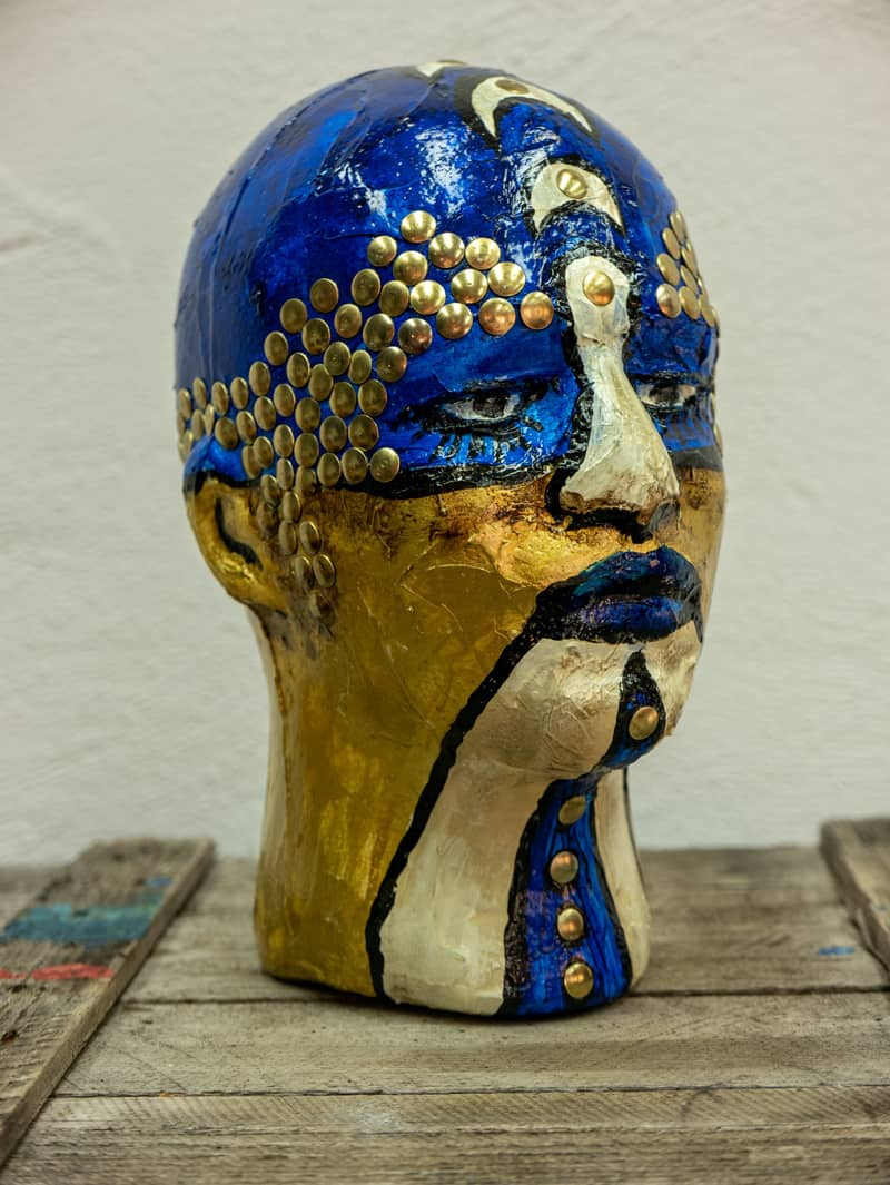 Zaungast blau gold links