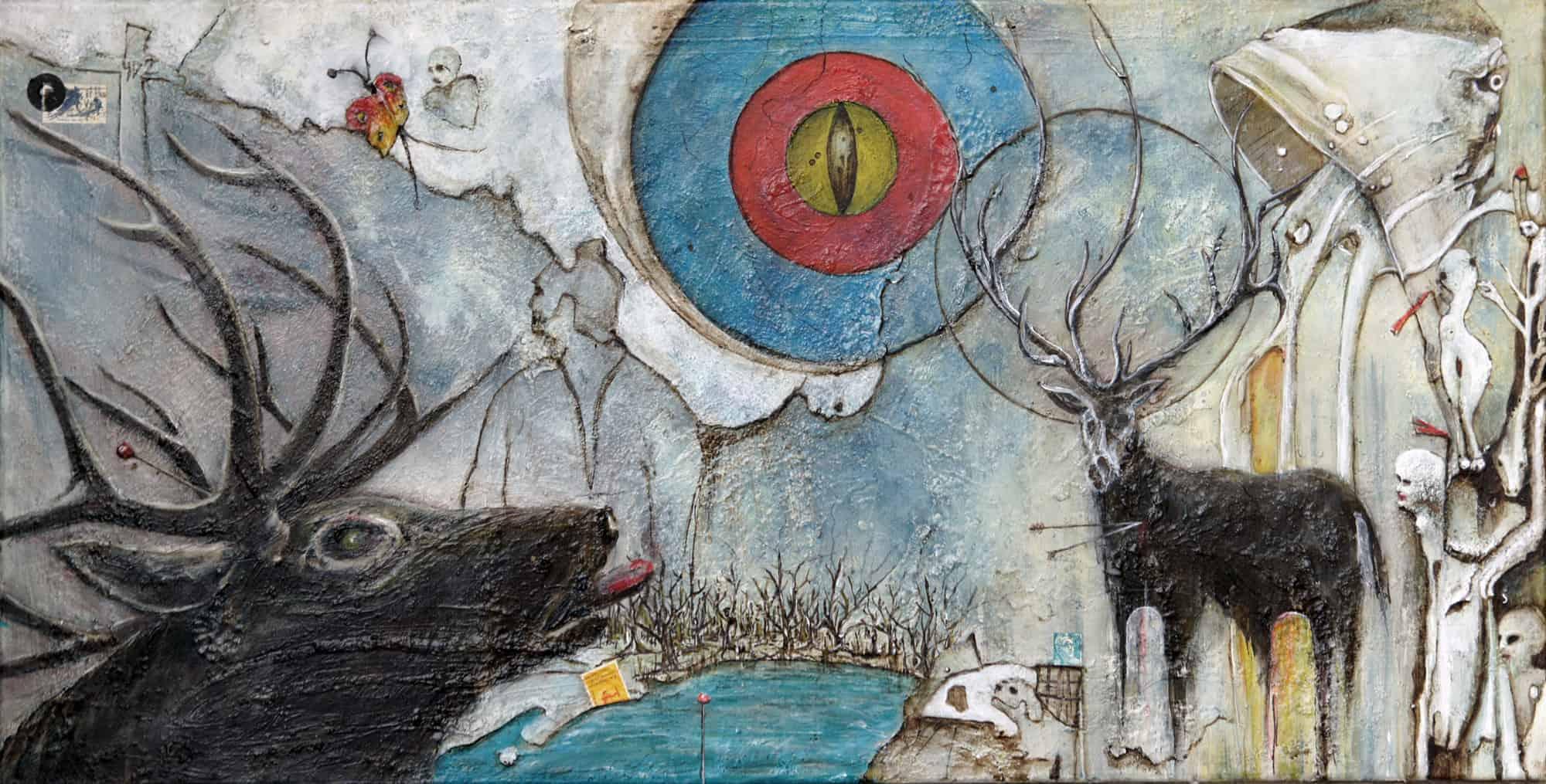 Hirschen Acrylmalerei Bli-Art