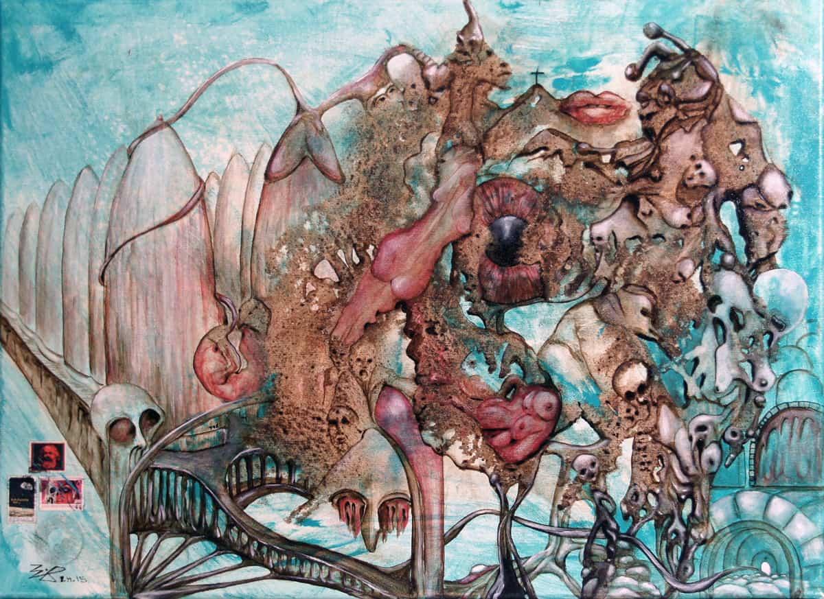 Liebe Tot und Teufel Acrylgemälde Bli-Art