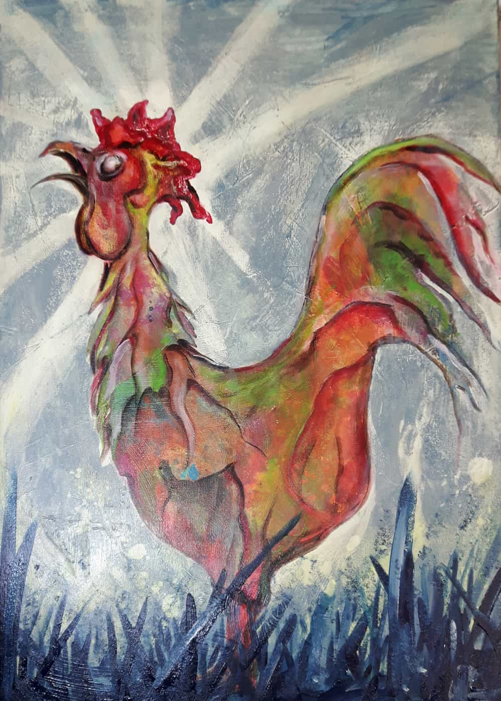 Rooster Acrylic painting Bli-Art